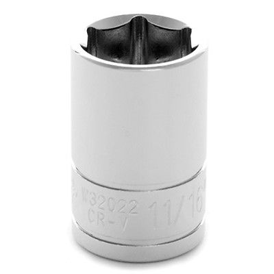 "Performance Tool W32022,  Shallow Socket 1/2"" Drive, 6 Point, 11/16"" Chrome"